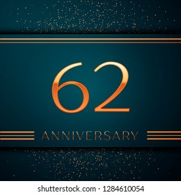 Realistic Sixty two Years Anniversary Celebration design banner. Golden number and confetti on green background. Colorful Vector template elements for your birthday party