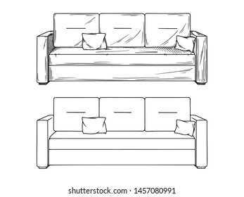 Realistic sketch of sofas isolated on white background. Vector illustration