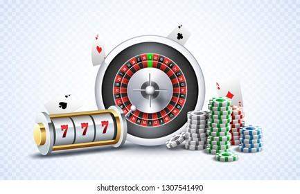 Realistic slot machine with roulette wheel, casino chips and playing cards illustration on white png background for gambling night party concept.