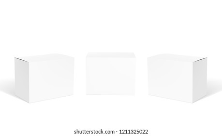 Realistic Small White Clear Cardboard Boxes Set. EPS10 Vector