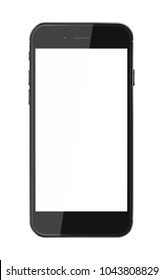 Realistic smart phone with blank screen isolated on white background. Vector illustration.