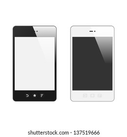 Realistic Smart Phone With Blank Screen. Set. With Reflection. Isolated On White Background. Vector Illustration