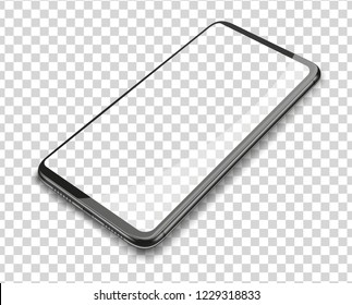 Realistic smart phone on transparent background. Vector illustration.