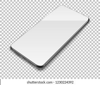Realistic smart phone on transparent background. Vector illustration.