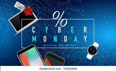 Realistic smart phones, laptop and smart watch with Cyber Monday Sale discount promotion text on tech background.