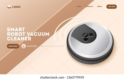 Realistic smart robot vacuum cleaner on brown abstract background. Hero shot or landing page design.