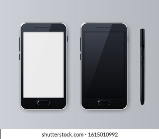 Realistic Smartphone , Black Color . Top View . Isolated Vector Elements