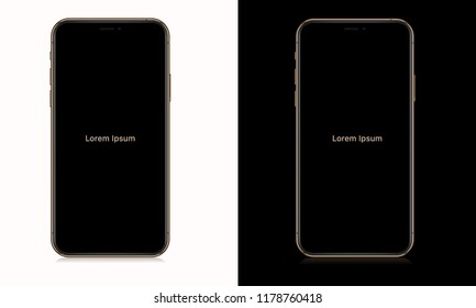 Realistic smartphone with blank screen. Isolated cell phone mockup. Gold and black. Vector illustration