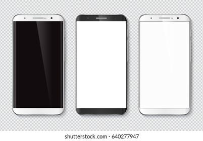 帶空白螢幕的逼真智慧型手機。 隔離手機模型。 白色和黑色 向量插圖