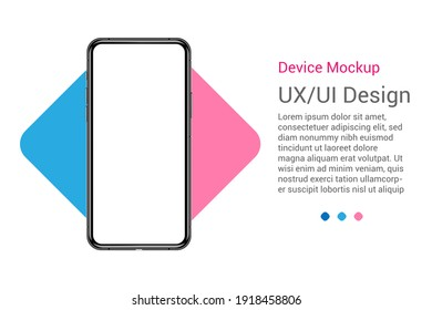 Realistic Smartphone blank screen, phone mockup. Template for infographics or presentation UI design interface.