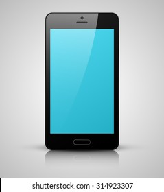 Realistic smartphone with  blue screen isolated on gray background
