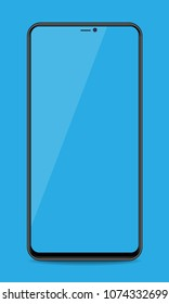 Realistic smartphone with bluecolor screens on isolated background.