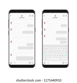 Realistic smartphone chatting messenger app template with chat bubbles and keyboard. Vector Mockup dialogues composer.