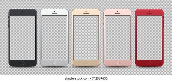 Realistic Smartphone Collection isolated on Transparent Background. Front View For Print, Web, Application. High Detailed. Set of Device Mockup Separate Groups and Layers. Easily Editable Vector.