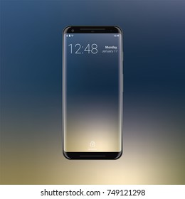 Realistic Smartphone Device on gradient background. New frameless phone design. Gadget render with reflection. Mobile concept. Black device. Vector Illustration. EPS 10.