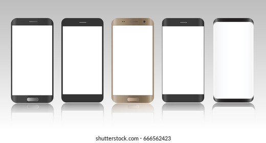 Realistic smartphone. Five realistic vector illustrations phone. Device set. Realistic smartphone gold, gray and black cellphone.