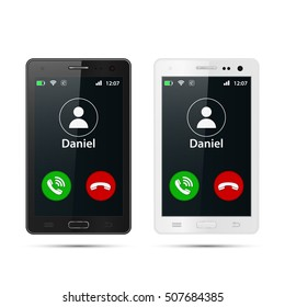 Realistic smartphone with incoming call on display, vector isolated illustration.