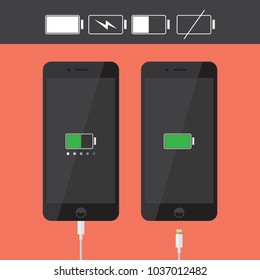 Realistic smartphone / iPhone icons collection with battery indicator and usb cable in flat style design, black flat device silhouette isolated on orange background,vector eps10