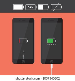 Realistic smartphone / iPhone icons collection with battery indicator and usb cable, black flat design device interface element for app ui ux web button, eps 10 vector isolated on white background