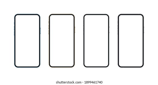 Realistic smartphone mockup, blue, gold, silver and black mobile isolate concept with blank screens. High detailed 3d vector phone in front view ready to show app and web design. Vector illustration.