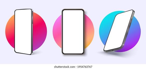 Realistic smartphone mockup. Device UI, UX mockup for presentation template. Modern vector illustration
