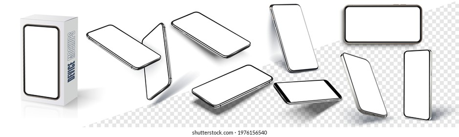 Realistic smartphone mockup. Device UI, UX, mockup for presentation template. Cellphone frame with blank display isolated templates, phone different angles views. 3d isometric illustration cell phone