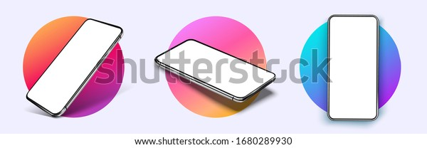 Realistic smartphone mockup. Device UI/UX mockup for presentation template. . Cellphone frame with blank display isolated templates, phone different angles views. 3d isometric illustration cell phone