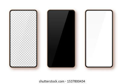 Realistic smartphone mockup set. Mobile phone blank, white, transparent screen design Modern digital device template Cellphone display front view mock up. Rose gold frame. Isolated vector illustration