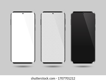 Realistic smartphone mockup set. Mobile phone blank, white, transparent screen design mock up. Isolated vector illustration