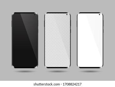 Realistic smartphone mockup set. Mobile phone blank, white, transparent screen design mock up. smartphone vector illustration