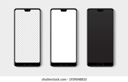 Realistic smartphone mockup set. Mobile phone blank, white, transparent screen design mock up. Isolated vector illustration