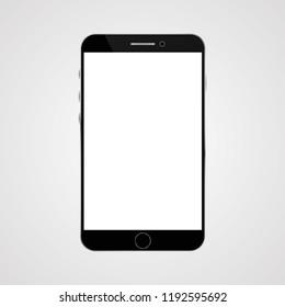 Realistic smartphone on grey back