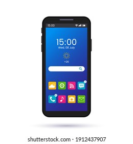 realistic smartphone screen page layout with different buttons. bright smartphone home screen interface template. phone display illustration with search and app icons