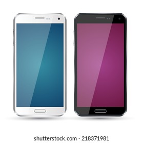 Realistic smartphone set mockup color. Vector object for game and application mockup. Can use for printing, website, apps element. background for application mockups.