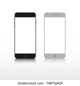 Realistic smartphone. Set realistic smartphone. Phone black, gray. Iphone 8 mockup.