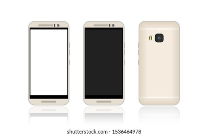 Realistic smartphone sets with blank screen. Front and back view of mobile phone collection. Black & white display for cellphone mock up. Modern digital technology, new gadget in vector cartoon.
