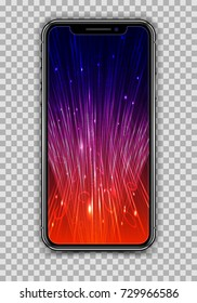 Realistic Smartphone with Technology Screen isolated on Transparent Background. Front and Back View For Print, Web, Application. Device Mockup Separate Groups and Layers. Easily Editable Vector