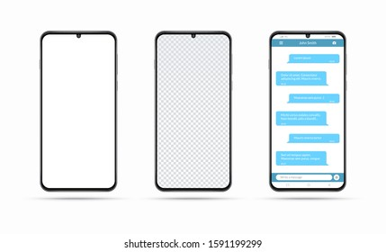 Realistic smartphone with white blank screen. Isolated cell phone mockup with transparent display. Modern vector phone with messaging app window. Chatting and messaging, social network concept.