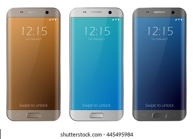Realistic smartphone white, gold and black cellphone. Easy place image into screen smartphone with shiny layer. Vector cell phone isolated with edge side style.