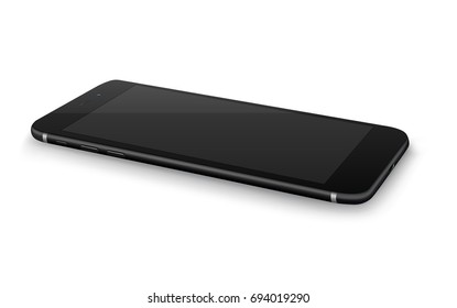 Realistic smartphones mockups black on white background. Stock vector illustration for printing, web element, Game demo and application mockup.