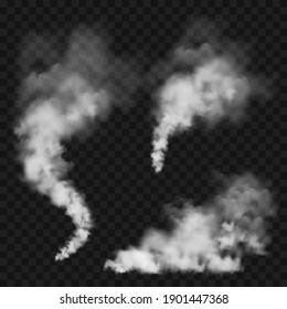 Realistic smoke clouds. Stream of smoke from burning objects. Transparent fog effect. White steam, mist. Vector design element.
