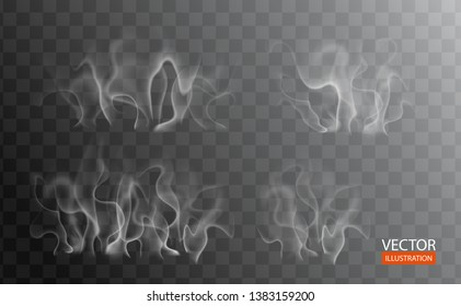 Realistic smoke effect for bbq party invitation, grill poster, hot food. White cloudiness, mist, smog, steam from coffee, tea on transparent background. Vector illustration for web pages and menu.