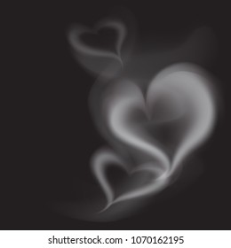 Realistic Smoke Heart on Dark Background. Vector Illustration of Transparent Steam