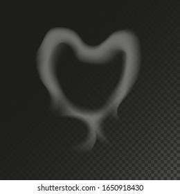 Realistic Smoke Heart on Dark Background. Vector Illustration of Transparent Steam