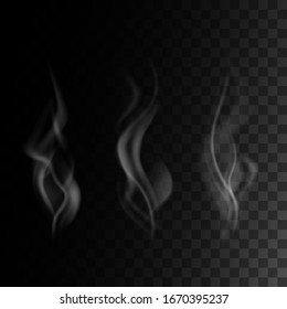 realistic smoke set isolated on transparent darck background. vector illustration