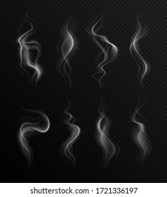 Realistic smoke. Steam collection transparent backdrop. Natural grey fog of fire, hot food or drink. Cigarette air vapor effect vector set