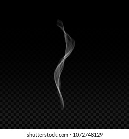 Realistic smoke wave from cigarette or vapor steam. Smell and aroma flow from tea, coffee or hot food. Vector illustration.