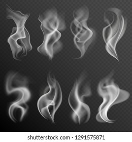 Realistic smoke. White food steam hookah hot tea coffee smoke texture isolated on black background