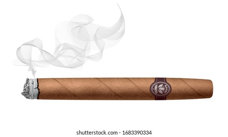 Realistic smoking cigar isolated on white background. RGB. Global colors
