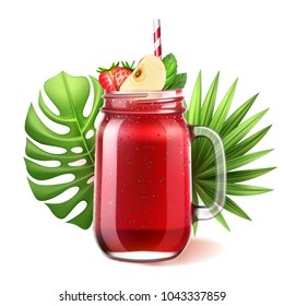 Realistic smoothie mason glass jar. Vector strawberry, watermelon fruit juice drink with sliced apple mint straw. Healthy fitness cocktail, sweet raw organic summer shake, tropical leaves background